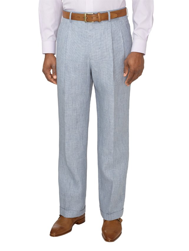 Linen Houndstooth Pleated Suit Pants