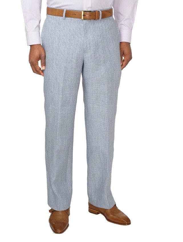Linen Houndstooth Flat Front Suit Pants