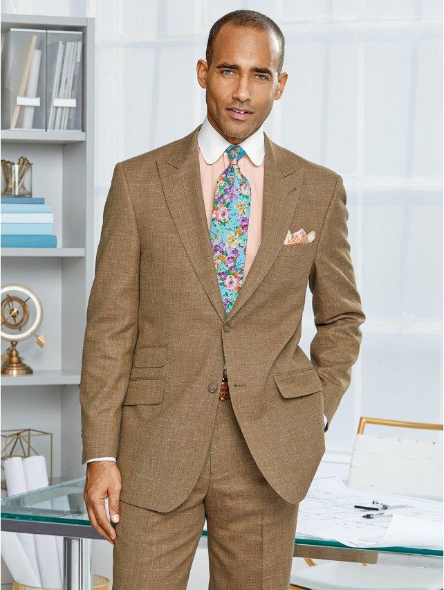 Wool, Silk & Linen Textured Suit Jacket