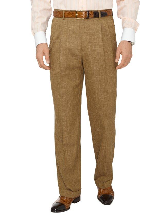 Wool, Silk & Linen Textured Pleated Suit Pants