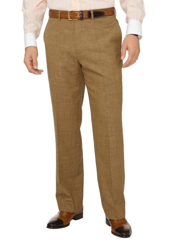 Wool, Silk & Linen Textured Flat Front Suit Pants