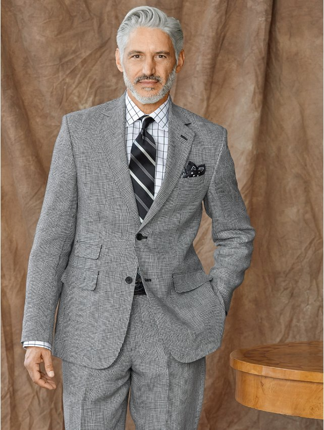 Linen Glen Plaid Suit Jacket