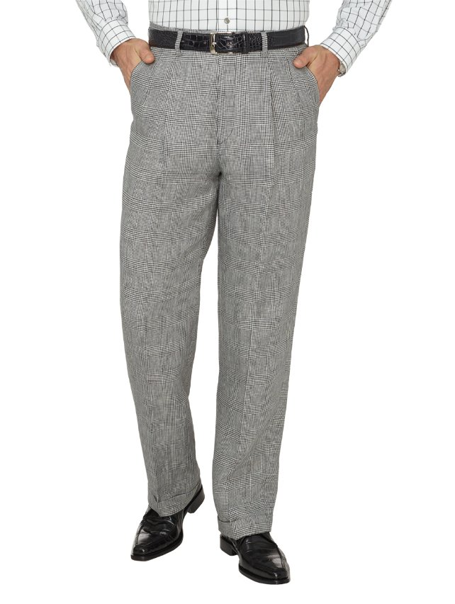Linen Glen Plaid Pleated Suit Pants