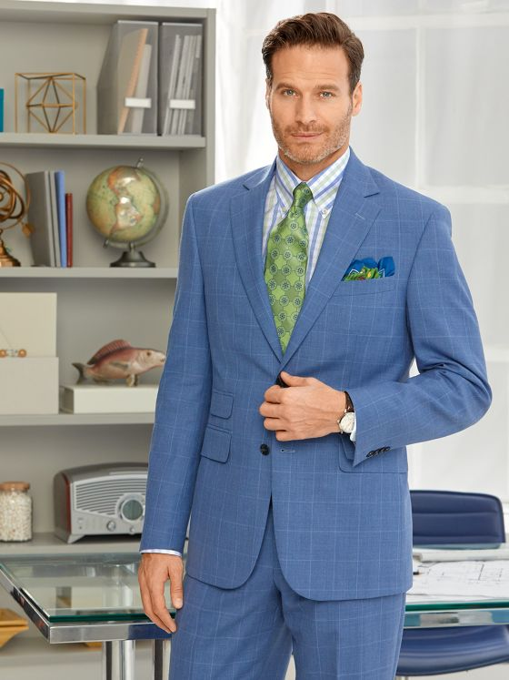 Wool & Linen Windowpane Suit Jacket