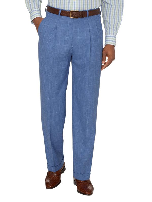 Wool & Linen Windowpane Pleated Suit Pants