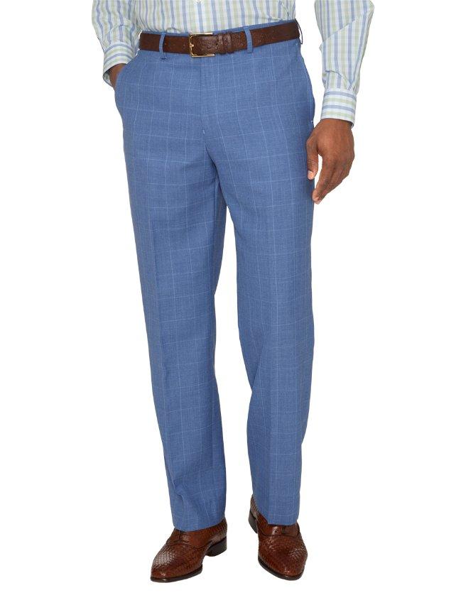 Wool & Linen Windowpane Flat Front Suit Pants