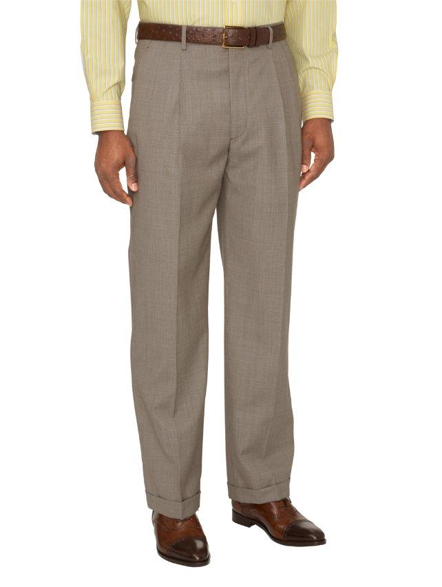 Italian Super 100's Wool Mini Grid Pleated Suit Pants