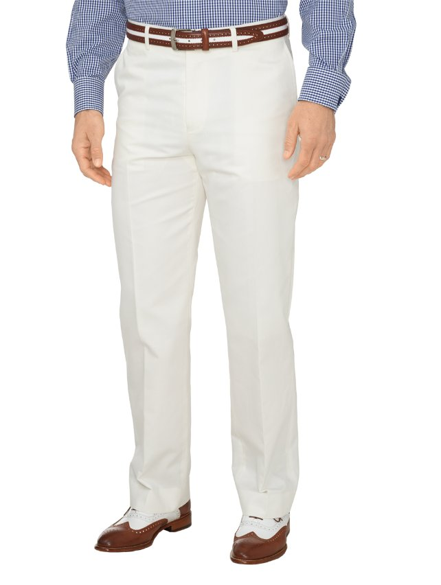 Cotton & Linen Twill Flat Front Suit Pants