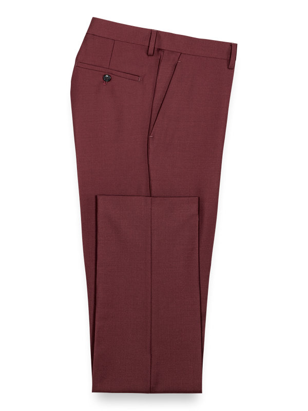 Wool Sharkskin Flat Front Suit Pants