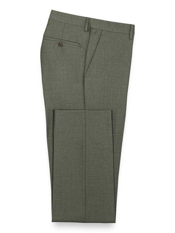 Solid Wool Flat Front Suit Pants
