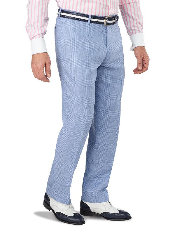 Classic Fit Linen Glen Plaid Flat Front Suit Pant