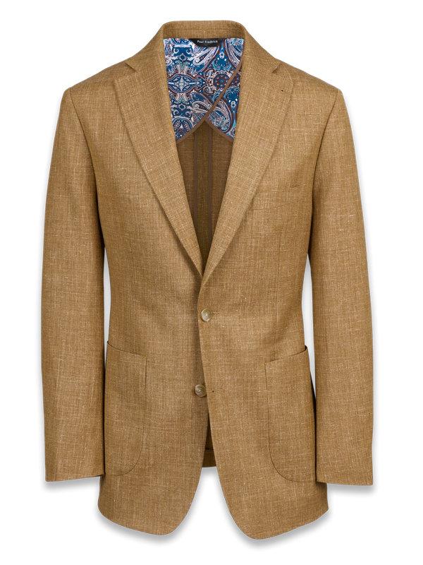 Wool Silk and Linen Notch Lapel Suit Jacket