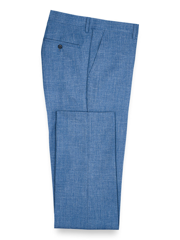 Wool Silk and Linen Flat Front Suit Pants
