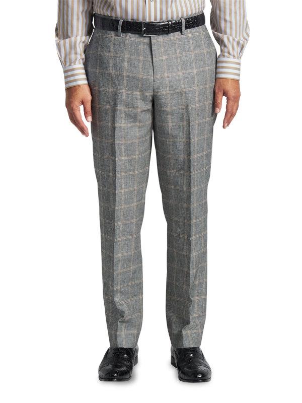 Classic Fit Linen & Cotton Plaid Flat Front Suit Pant