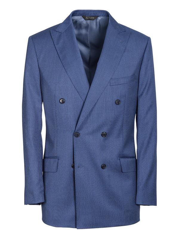 Italian Wool Stripe Double Breasted Suit Jacket