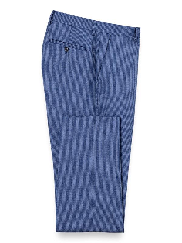 Italian Wool Stripe Flat Front Suit Pant