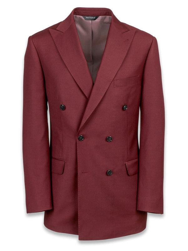 Wool Sharkskin Double Breasted Suit Jacket