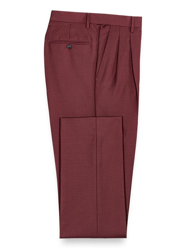 Wool Sharkskin Pleated Suit Pants