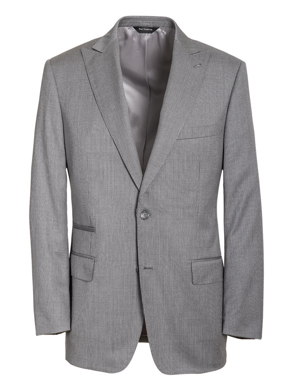 Italian Wool Stripe Single Breasted Suit Jacket