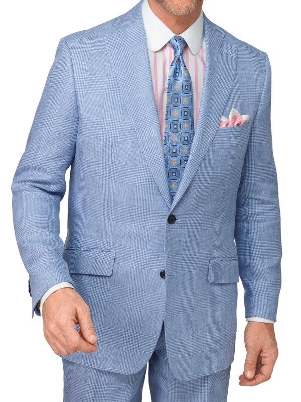 Classic Fit Linen Glen Plaid Notch Lapel Suit Jacket