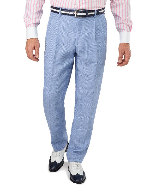 Classic Fit Linen Glen Plaid Pleated Suit Pant