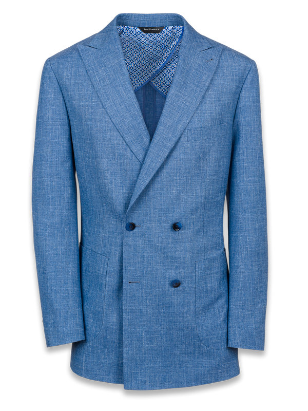 Wool Silk and Linen Double Breasted Suit Jacket