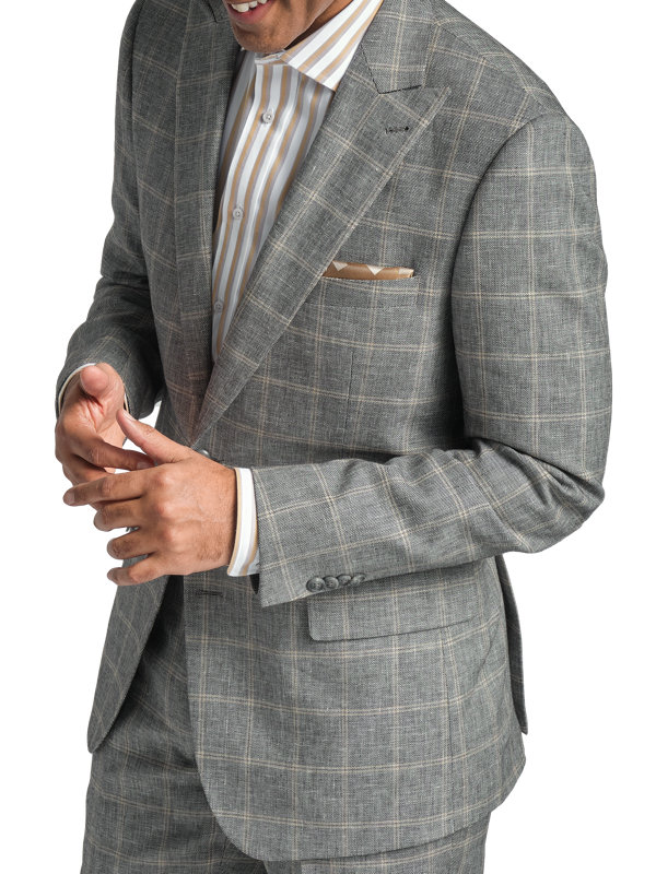 Classic Fit Linen & Cotton Plaid Peak Lapel Suit Jacket