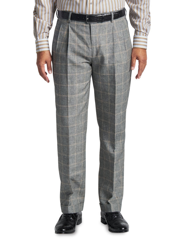 Classic Fit Linen & Cotton Plaid Pleated Suit Pant
