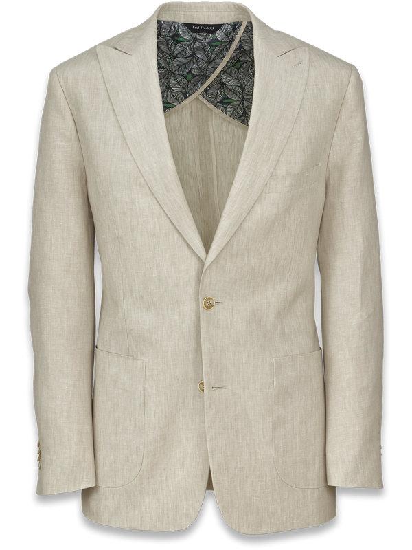 Linen Solid Peak Lapel Suit Jacket
