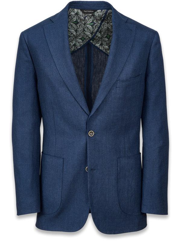 Linen Solid Notch Lapel Suit Jacket