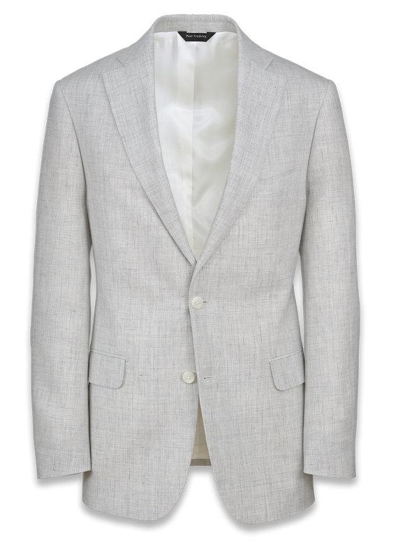 Linen Plaid Notch Lapel Suit Jacket