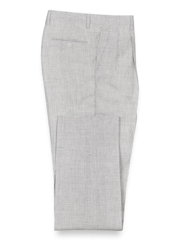 Linen Plaid Pleated Suit Pant