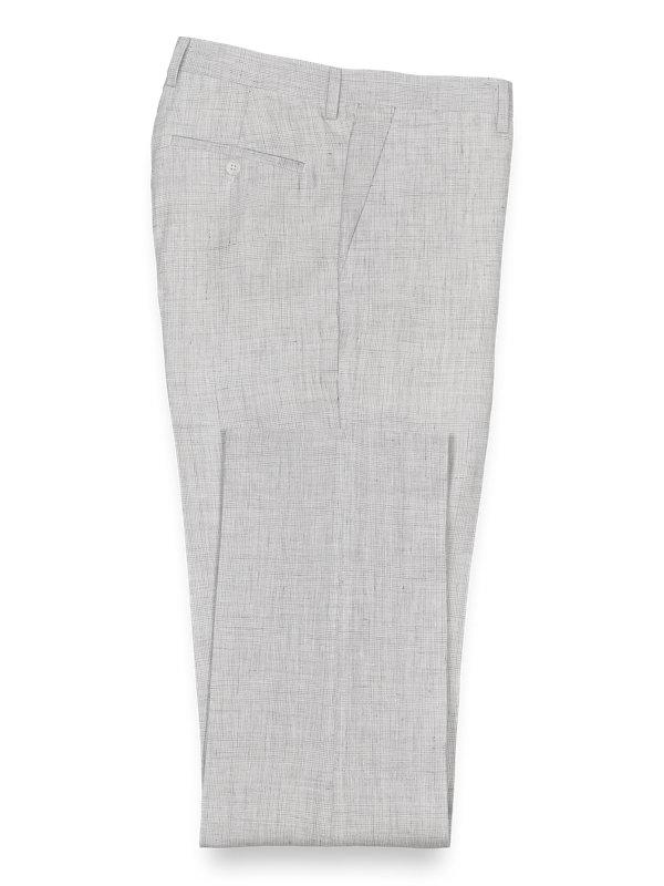 Linen Plaid Flat Front Suit Pant