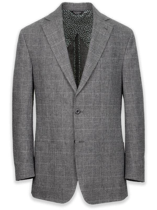 Linen Glen Plaid Notch Lapel Suit Jacket