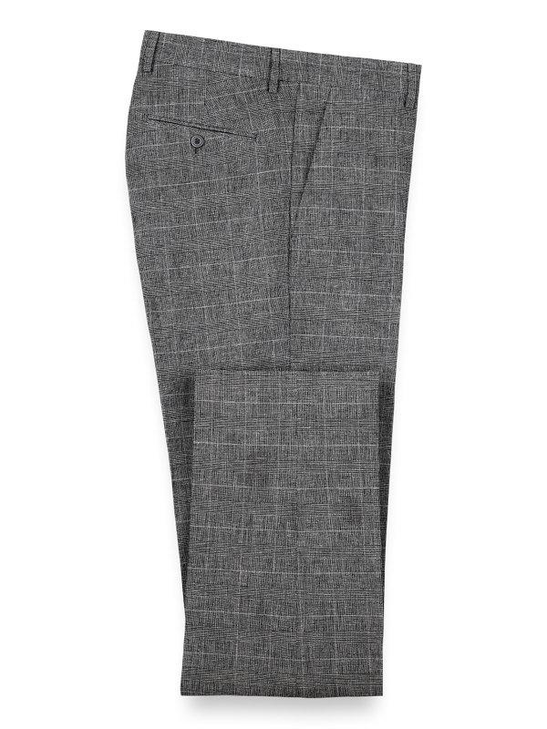 Linen Glen Plaid Flat Front Suit Pant