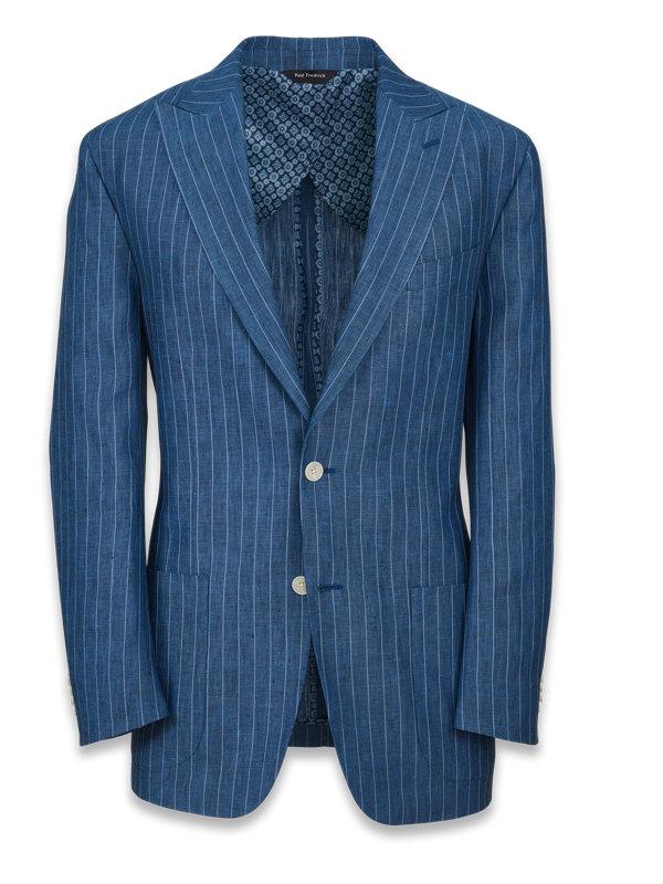 Linen Stripe Peak Lapel Suit Jacket
