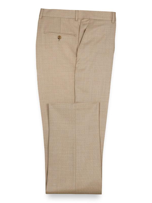 Sharkskin Wool Flat Front Suit Pant