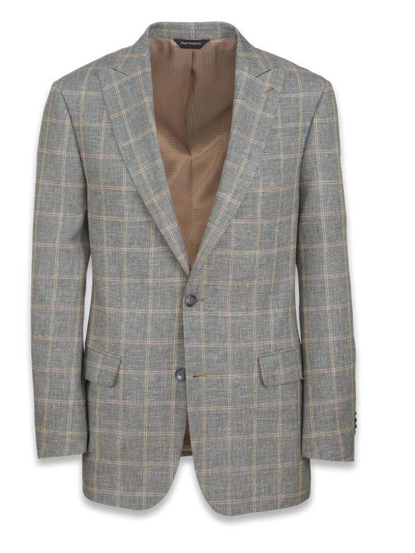 Linen And Cotton Plaid Peak Lapel Suit Jacket
