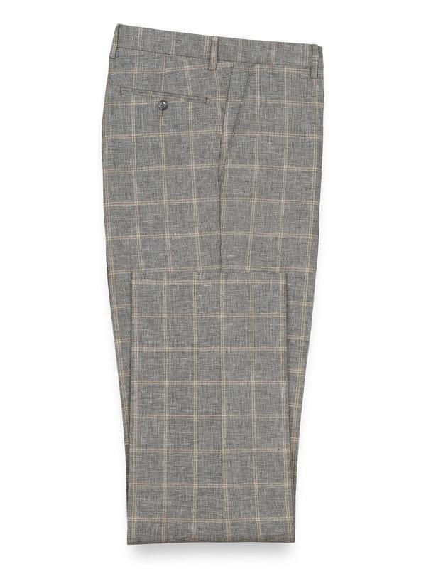 Linen And Cotton Plaid Flat Front Suit Pant