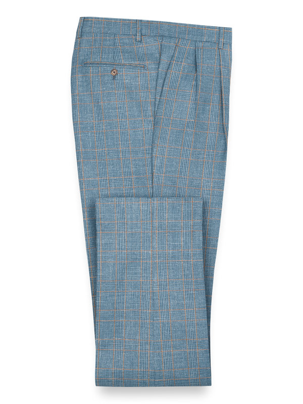 Wool Silk And Linen Plaid Pleated Suit Pant