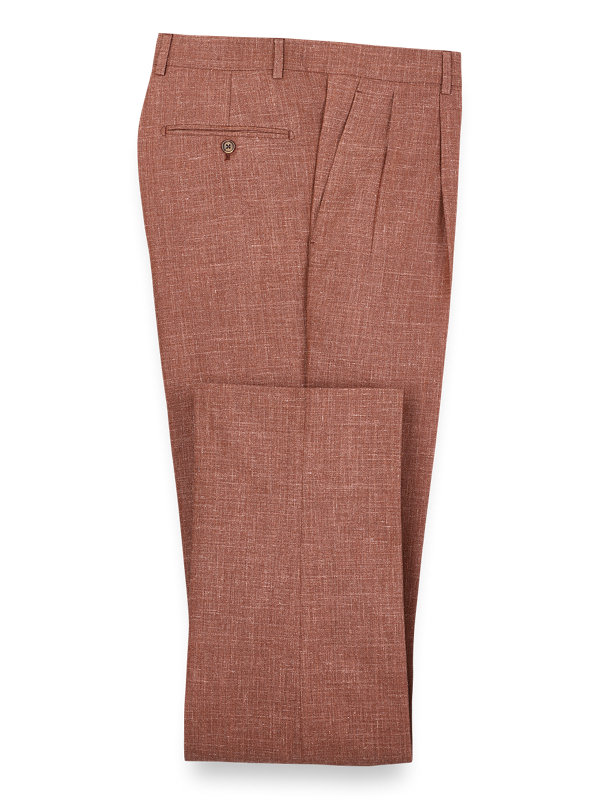 Wool Silk And Linen Solid Pleated Suit Pant