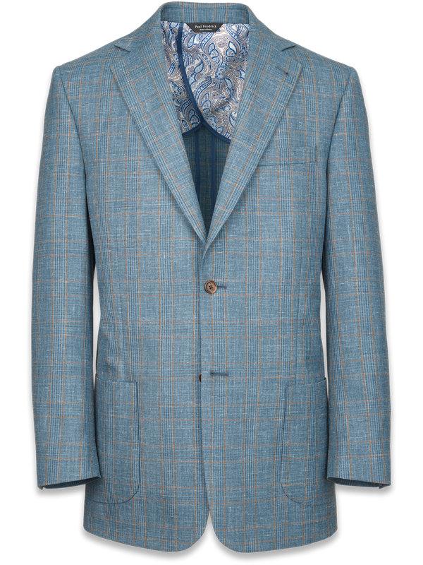 Wool Silk And Linen Plaid Notch Lapel Suit Jacket