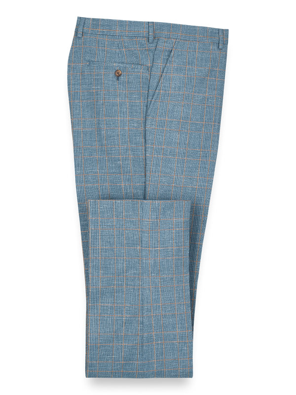 Wool Silk And Linen Plaid Flat Front Suit Pant