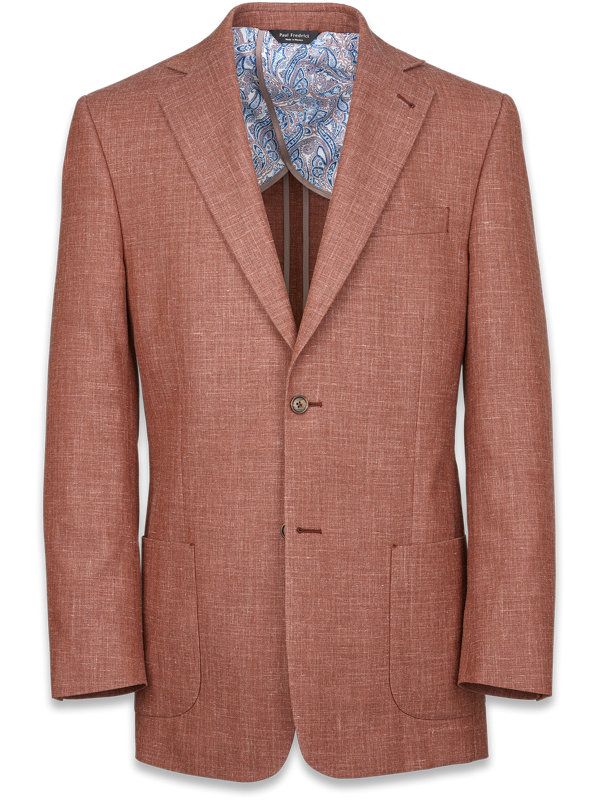 Wool Silk And Linen Solid Notch Lapel Suit Jacket