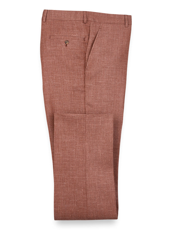 Wool Silk And Linen Solid Flat Front Suit Pant