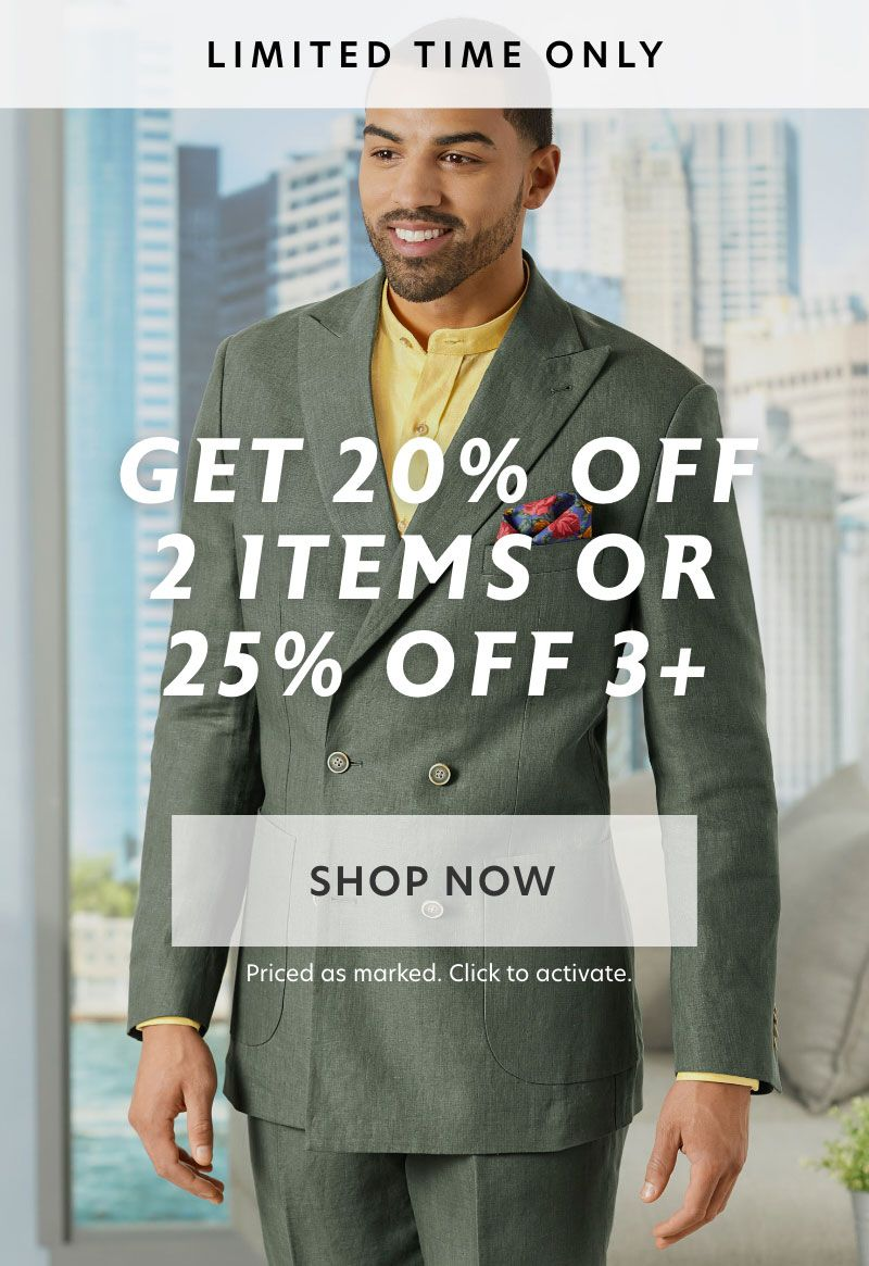 20% off 2+ items, 25% off 3+ items. Free Shipping on $150+.