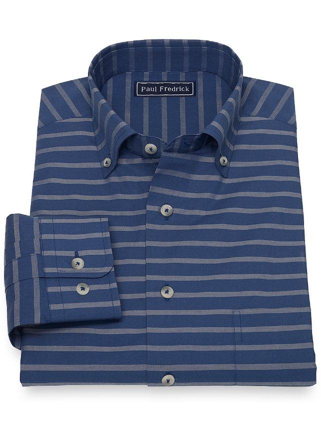 Cotton Horizontal Stripe Casual Shirt