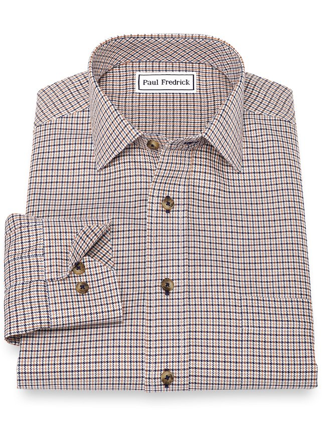 Non-Iron Cotton Houndstooth Casual Shirt
