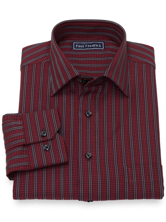 Slim Fit Cotton Houndstooth Stripe Casual Shirt