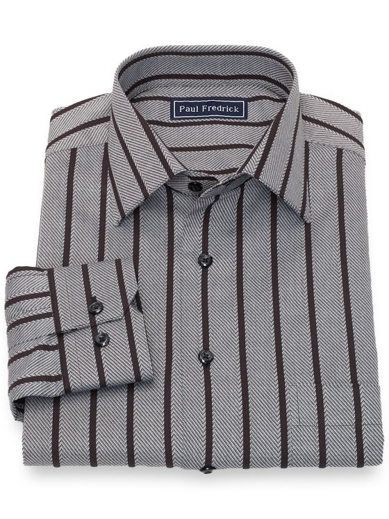 Slim Fit Cotton Herringbone Stripe Casual Shirt